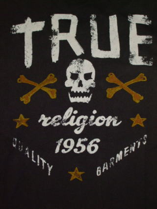 トゥルーレリジョンTシャツ TRUE RELIGION STYLE:MMJ8V34Y69 COLOR:WJ CHARCOAL SKULL AND BONES S/S VINTAGE CR